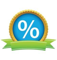 Gold percentage logo vector image