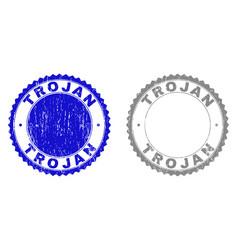 Grunge trojan textured watermarks vector
