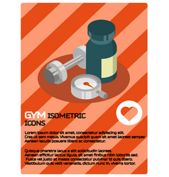 Gym color isometric poster vector