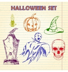 Hand Drawn Halloween characters set vector