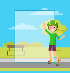 Happy boy image in green skateboarding clothing vector