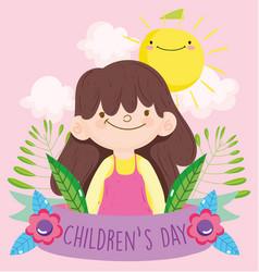 Happy children day little girl foliage sun clouds vector