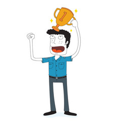 happy man with shining trophy vector image