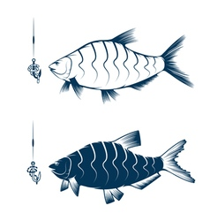 hook with worm and bream design template vector image