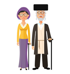 Jewish old people standing together jew vector