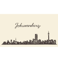 Johannesburg skyline engraved drawn sketch vector