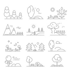 Landscape outline mono line symbols of trees and vector