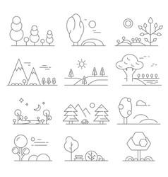 landscape outline mono line symbols of trees vector image