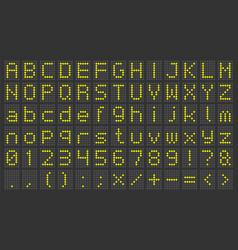 led display font digital scoreboard alphabet vector image