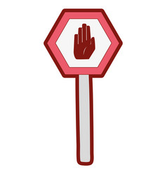 line color metal frame notice with stop sign vector image
