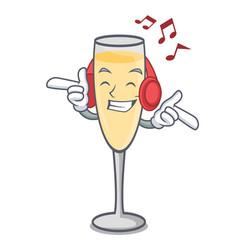 Listening music champagne mascot cartoon style vector