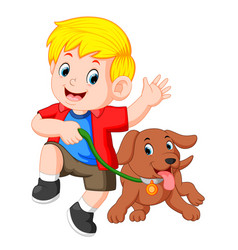 little boy running with dog vector image