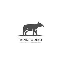 Logo tapir forest silhouette style vector