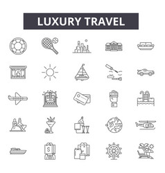 luxury travel line icons signs set vector image