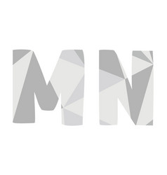 m n grey alphabet letter set isolated on white vector image