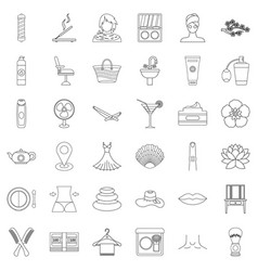 make up icons set outline style vector image