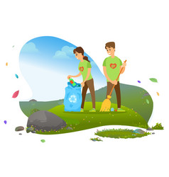 Man and woman collecting garbage in recycling bin vector