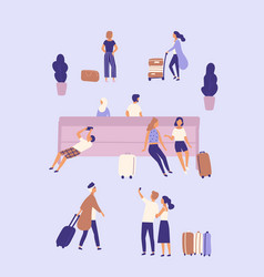 men and women with suitcases waiting at airport or vector image
