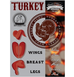 Menu template for grilling with turkey vector