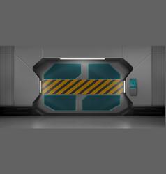 Metal sliding doors in spaceship hallway vector