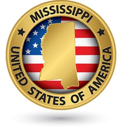 Mississippi state gold label with state map vector image