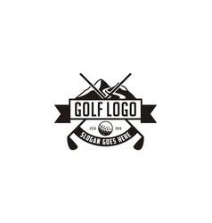Modern black and white golf badge logo design vector