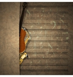 musical background sax and guitar on sheet music vector image