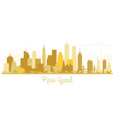 new york usa city skyline golden silhouette vector image