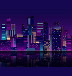 Night city skyline skyscraper with neon lights vector