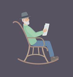 old man sitting on a chair vector image