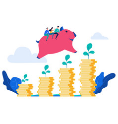 people rides piggy bank jump over money stack vector image