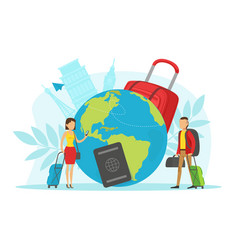 people travelling around world tiny vector image