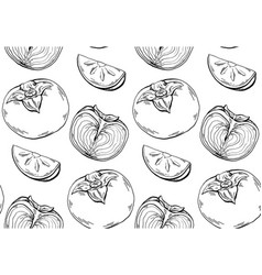 Persimmon sketch seamless contour pattern on white vector