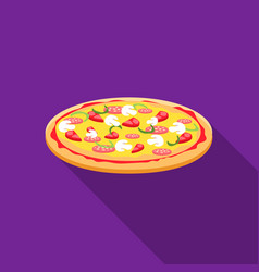Pizza icon in flat style for web vector