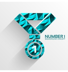 Polygonal medal number one background concept vector