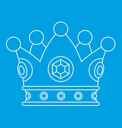 Precious crown icon outline style vector