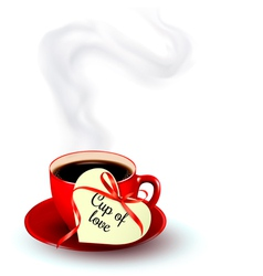 Red cup of coffee with a heart shaped valentine vector