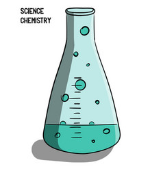 science chemistry a flask with a short neck a vector image