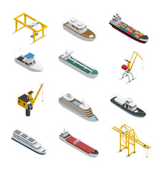 Sea and river vessel isometric icons set vector
