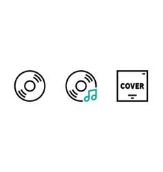 set flat music disc icon editable vector image