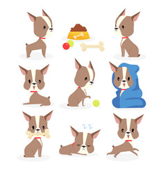 set funny puppy in vector image