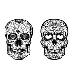 Set hand drawn sugar skulls on white background vector