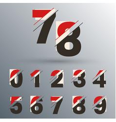 Set number 0 1 2 3 4 5 6 7 8 9 glitch design vector