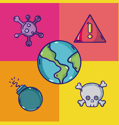 Set of virus and cybercrime cartoons vector