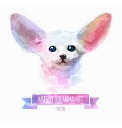 set of watercolor Cute fox vector image