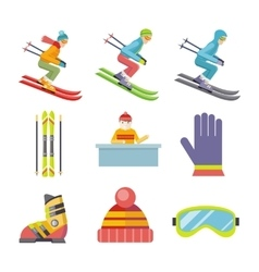 Set of Winter Sport Icons in Flat Design vector