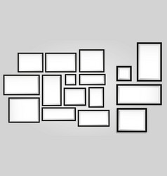 set realistic wooden frame or blank photo frame vector image