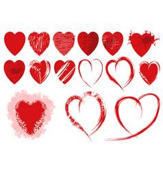 set red grunge heart shapes vector image