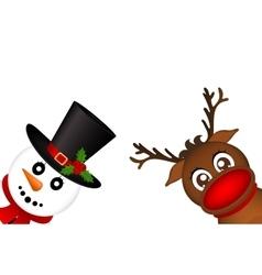 Snowman and Reindeer peeking sideways on a white vector
