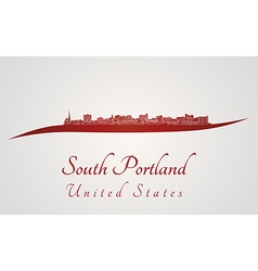 South Portland skyline in red vector